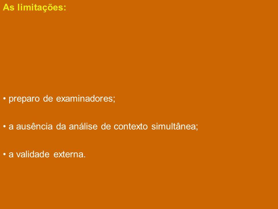 As limitações: preparo de examinadores; a ausência da análise de contexto simultânea; a validade externa.