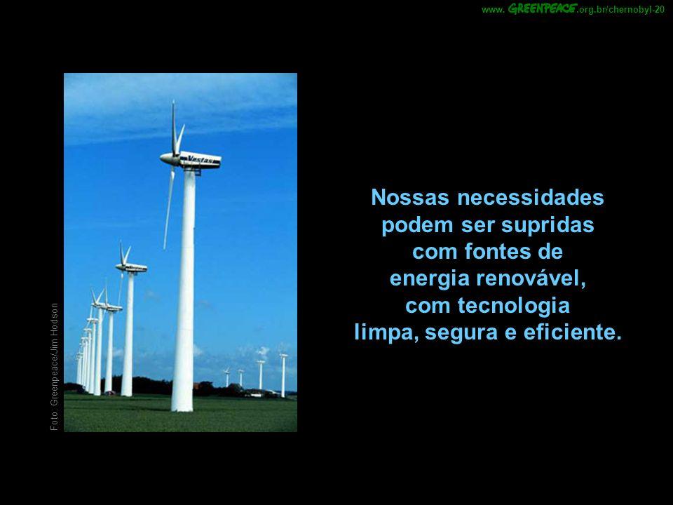 .org.br/chernobyl-20 www. Nossas necessidades podem ser supridas com fontes de energia renovável, com tecnologia limpa, segura e eficiente.