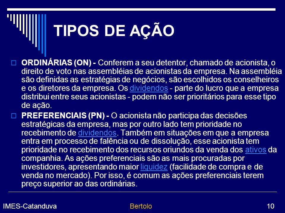 TIPOS DE AÇÃO
