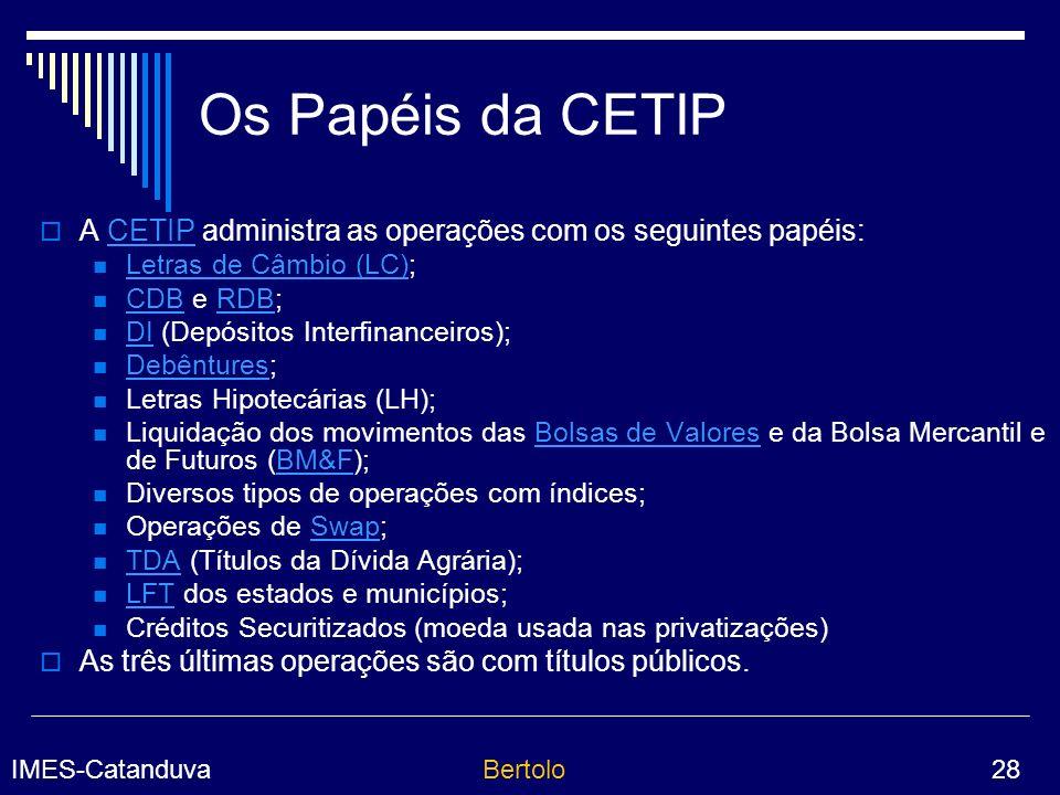 Os Papéis da CETIP A CETIP administra as operações com os seguintes papéis: Letras de Câmbio (LC);