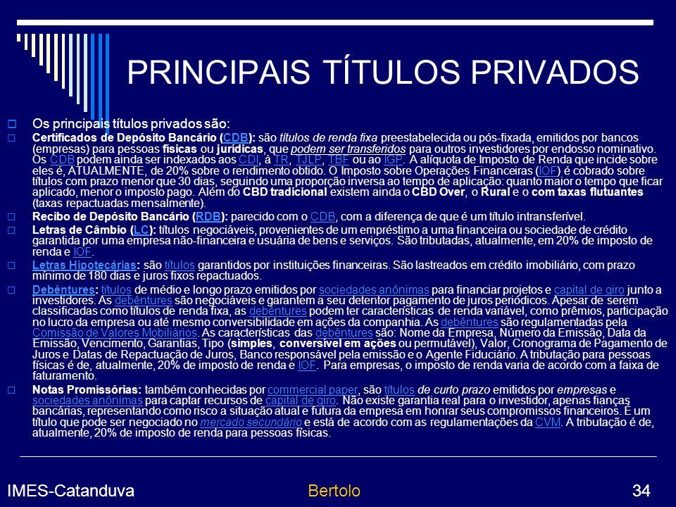 PRINCIPAIS TÍTULOS PRIVADOS