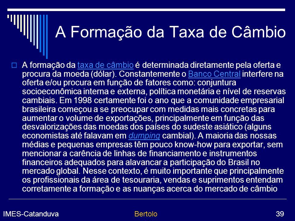 A Formação da Taxa de Câmbio