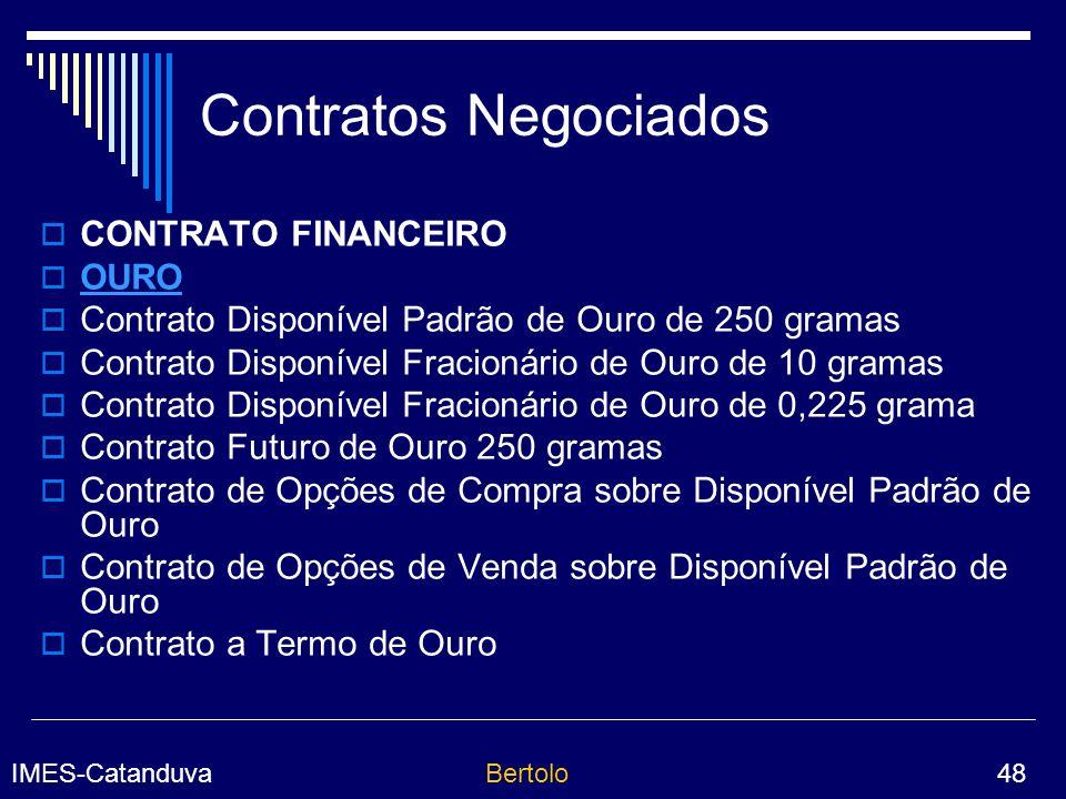 Contratos Negociados CONTRATO FINANCEIRO OURO