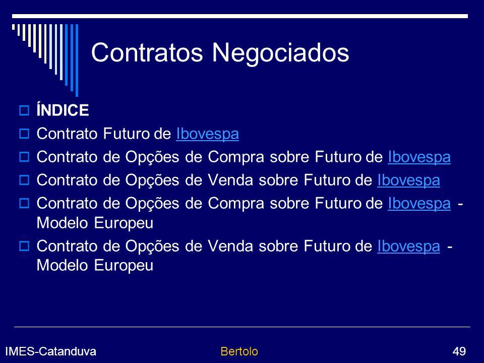 Contratos Negociados ÍNDICE Contrato Futuro de Ibovespa