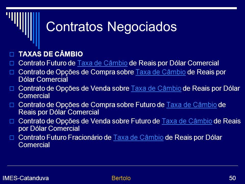 Contratos Negociados TAXAS DE CÂMBIO