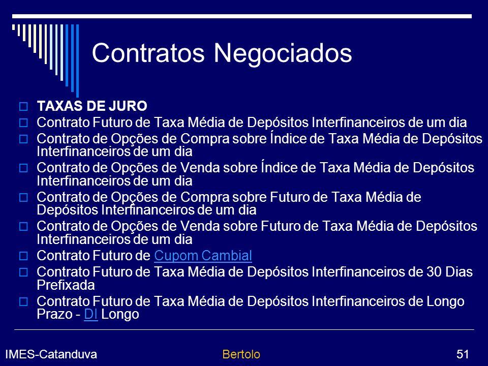 Contratos Negociados TAXAS DE JURO