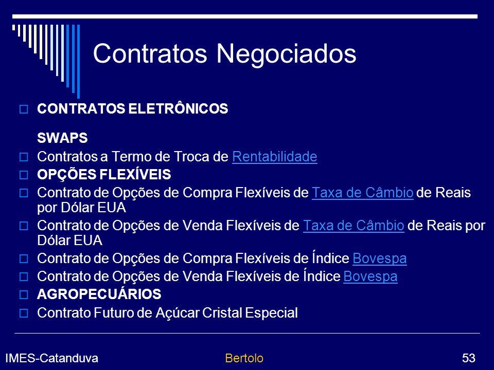 Contratos Negociados CONTRATOS ELETRÔNICOS SWAPS