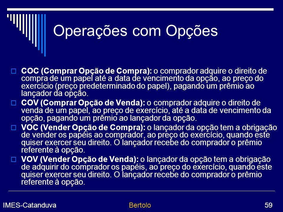 Operações com Opções