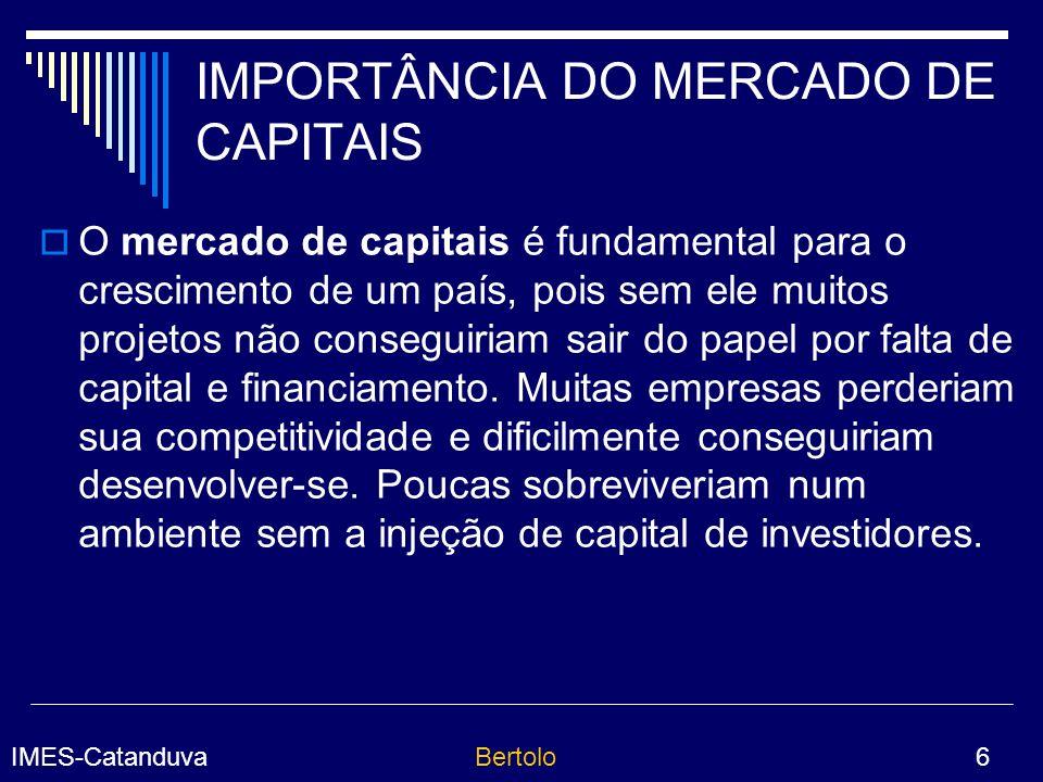 IMPORTÂNCIA DO MERCADO DE CAPITAIS