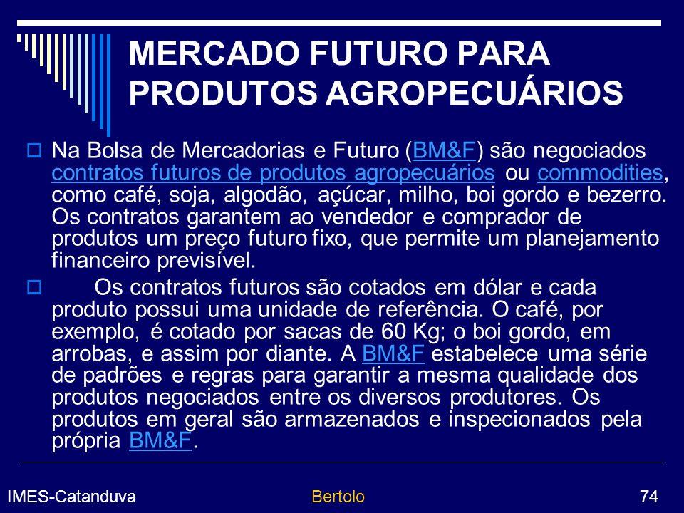 MERCADO FUTURO PARA PRODUTOS AGROPECUÁRIOS