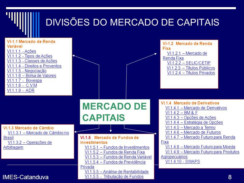 DIVISÕES DO MERCADO DE CAPITAIS