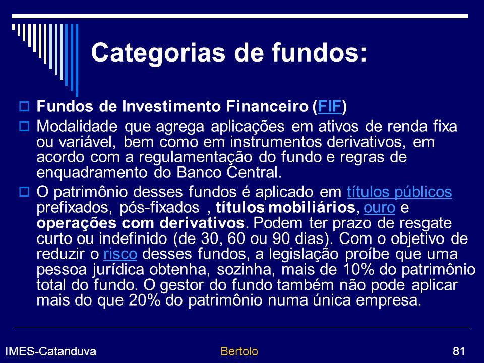 Categorias de fundos: Fundos de Investimento Financeiro (FIF)