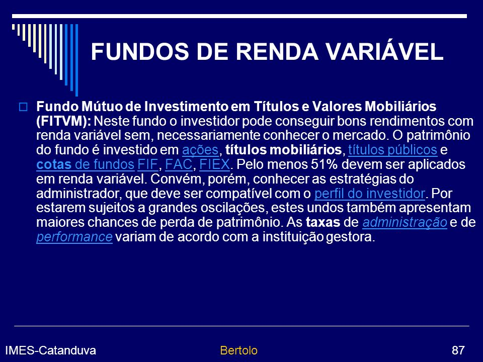 FUNDOS DE RENDA VARIÁVEL