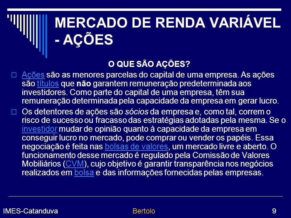MERCADO DE RENDA VARIÁVEL - AÇÕES