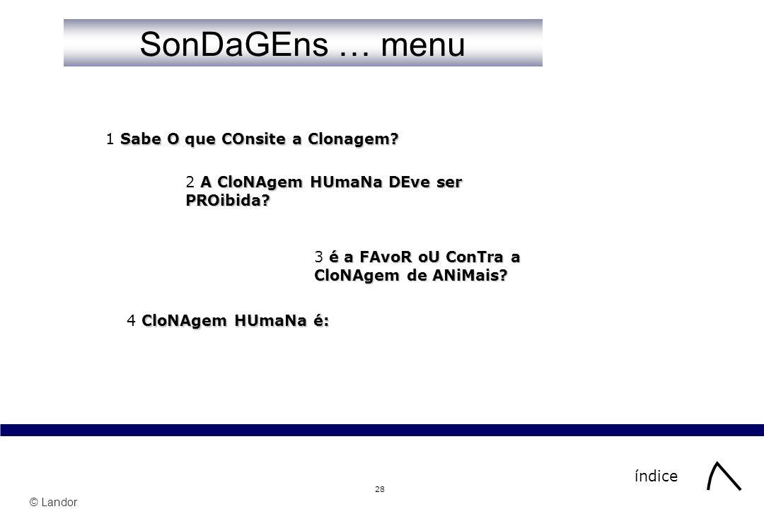 SonDaGEns … menu 1 Sabe O que COnsite a Clonagem