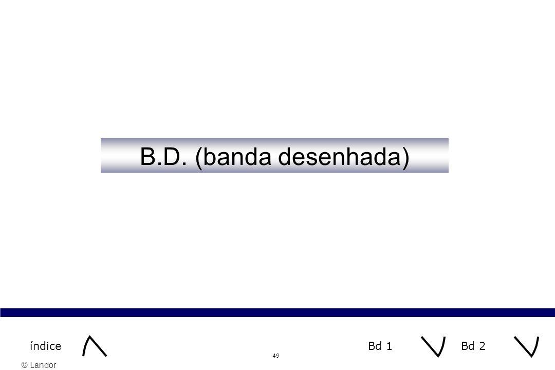 B.D. (banda desenhada) índice Bd 1 Bd 2