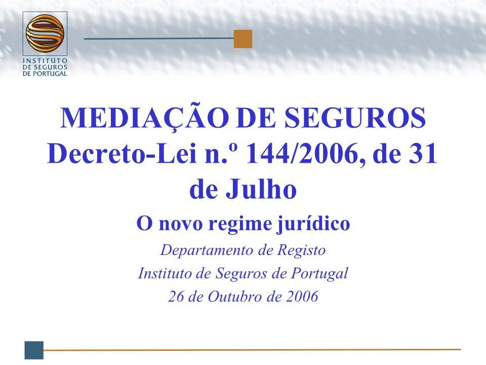 MEDIAÇÃO DE SEGUROS Decreto-Lei n.º 144/2006, de 31 de Julho