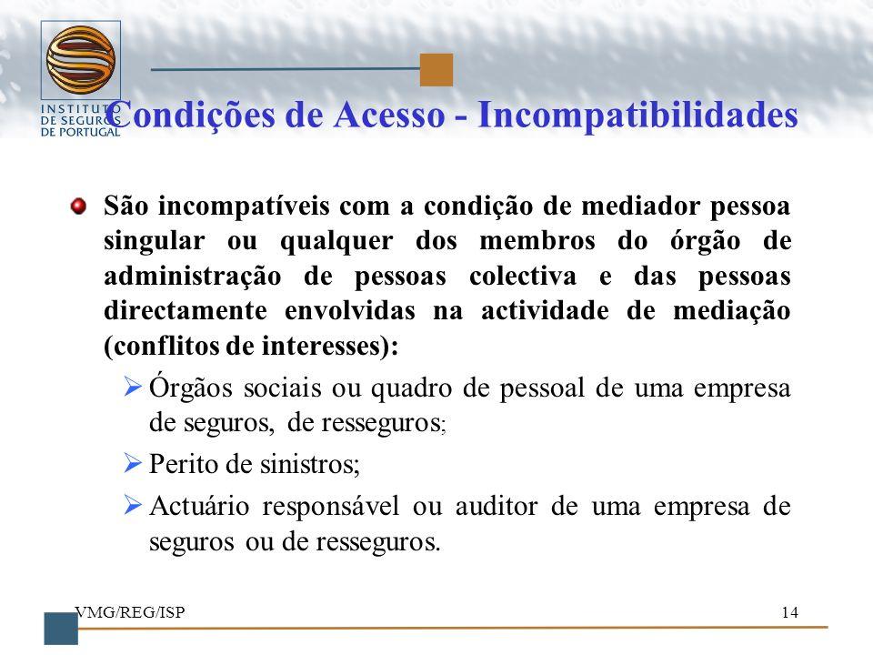 Condições de Acesso - Incompatibilidades