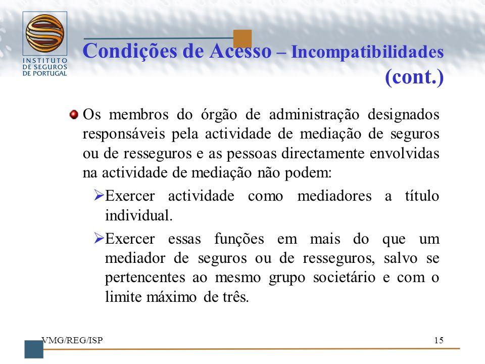 Condições de Acesso – Incompatibilidades (cont.)