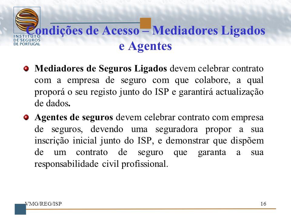 Condições de Acesso – Mediadores Ligados e Agentes