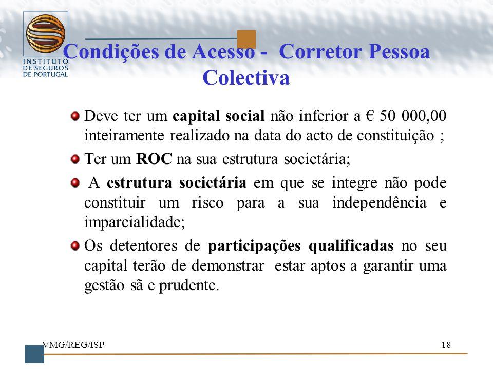 Condições de Acesso - Corretor Pessoa Colectiva