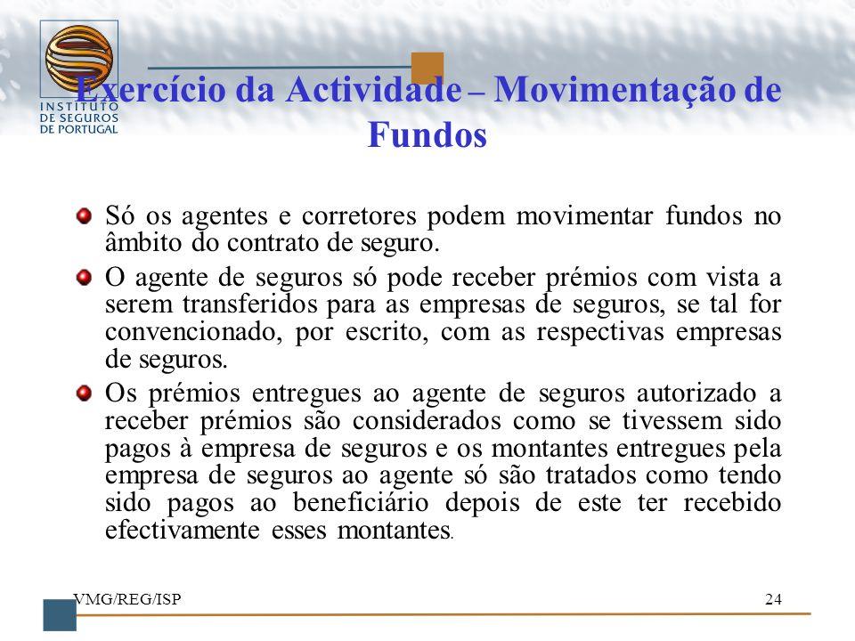 Exercício da Actividade – Movimentação de Fundos