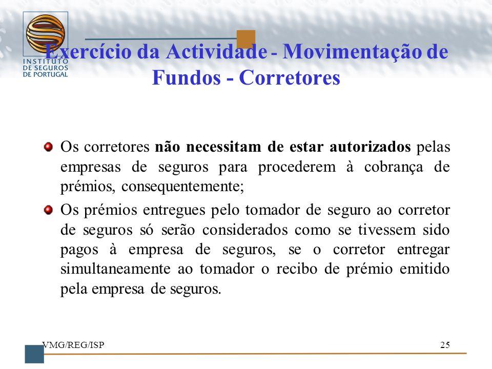 Exercício da Actividade - Movimentação de Fundos - Corretores