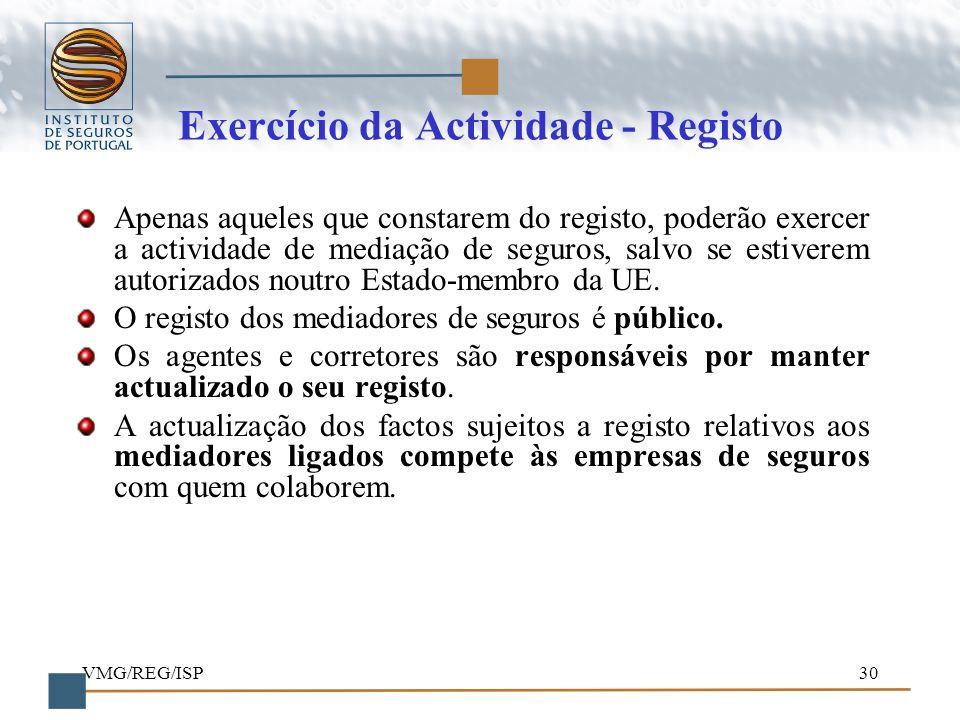 Exercício da Actividade - Registo