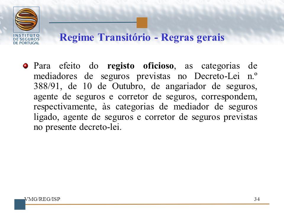 Regime Transitório - Regras gerais