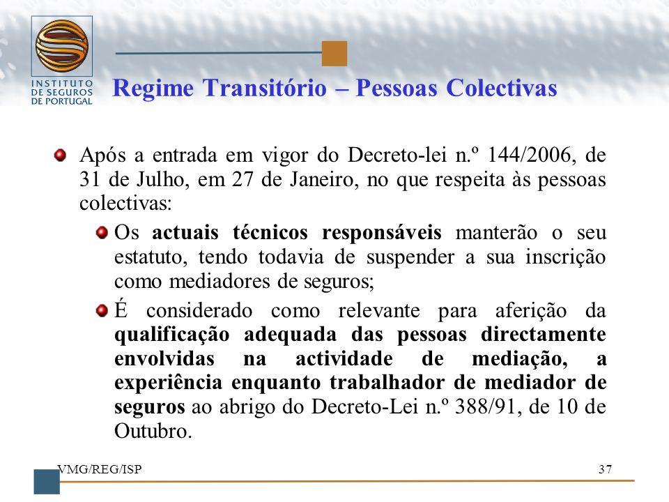 Regime Transitório – Pessoas Colectivas