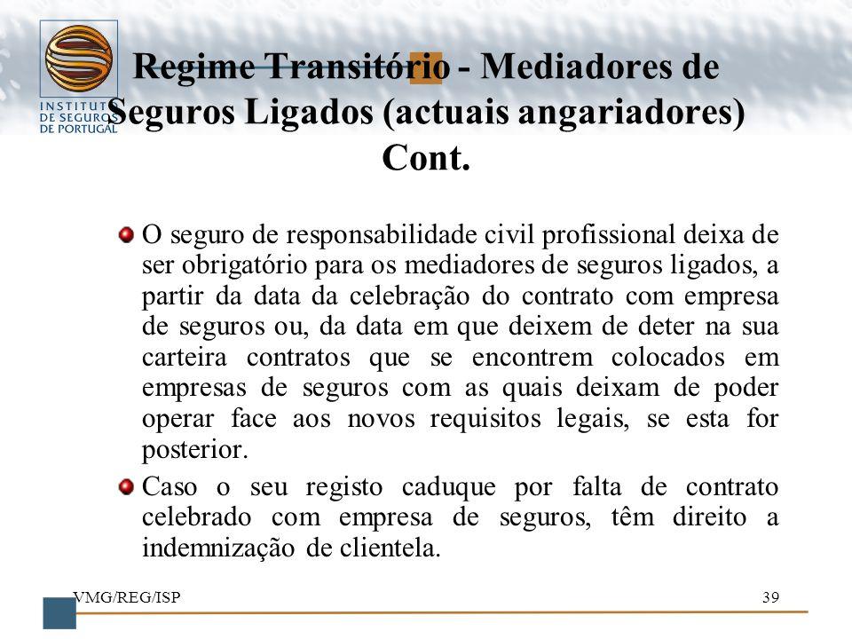 Regime Transitório - Mediadores de Seguros Ligados (actuais angariadores) Cont.