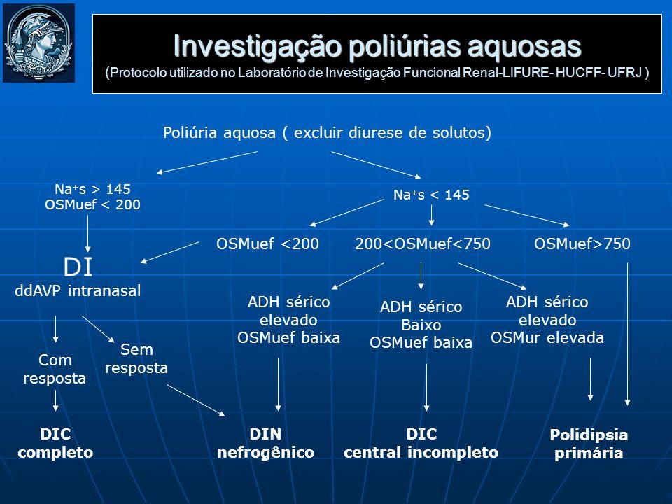 Poliúria aquosa ( excluir diurese de solutos)