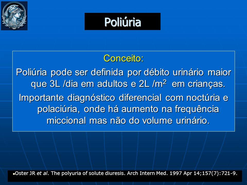 Poliúria Conceito: Poliúria pode ser definida por débito urinário maior que 3L /dia em adultos e 2L /m2 em crianças.