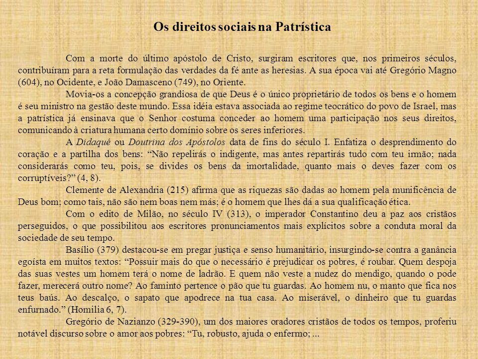 Os direitos sociais na Patrística