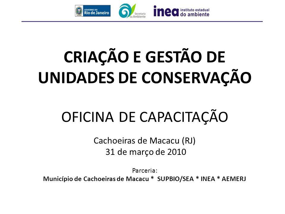 Município de Cachoeiras de Macacu * SUPBIO/SEA * INEA * AEMERJ