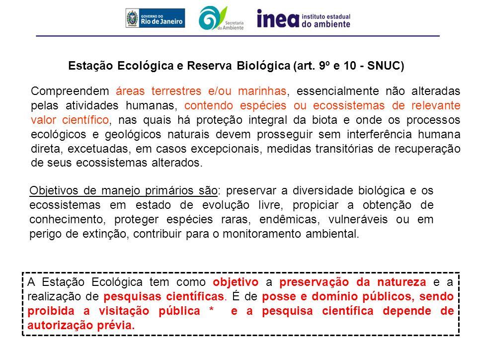 Estação Ecológica e Reserva Biológica (art. 9º e 10 - SNUC)