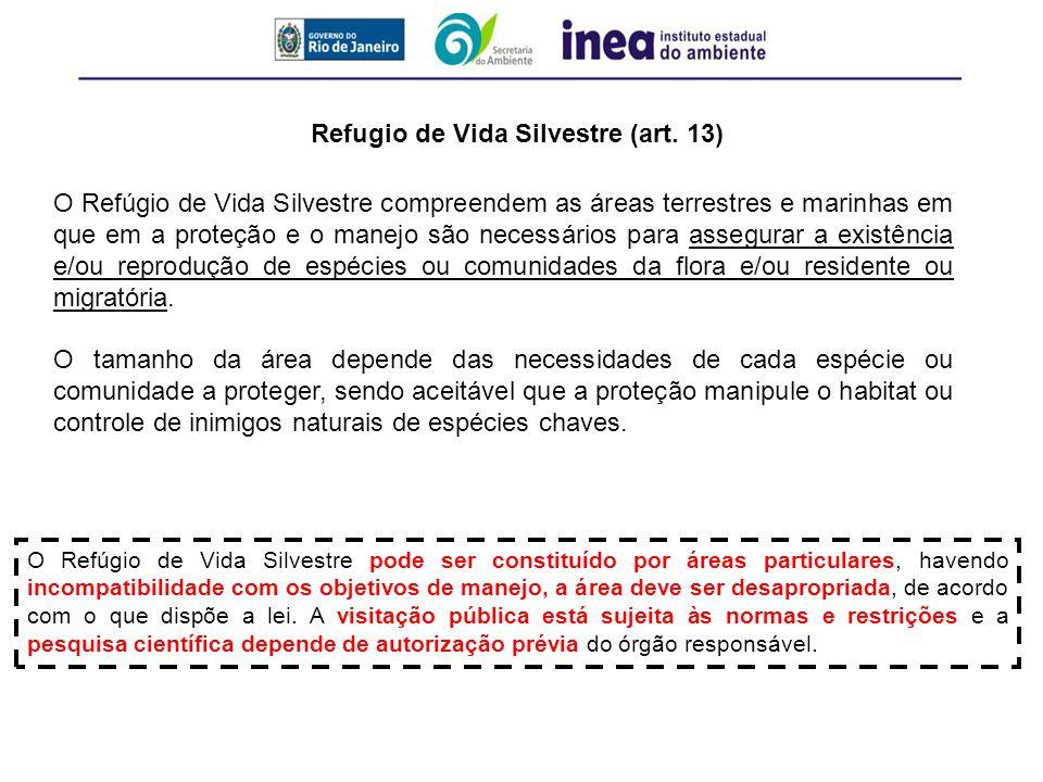 Refugio de Vida Silvestre (art. 13)