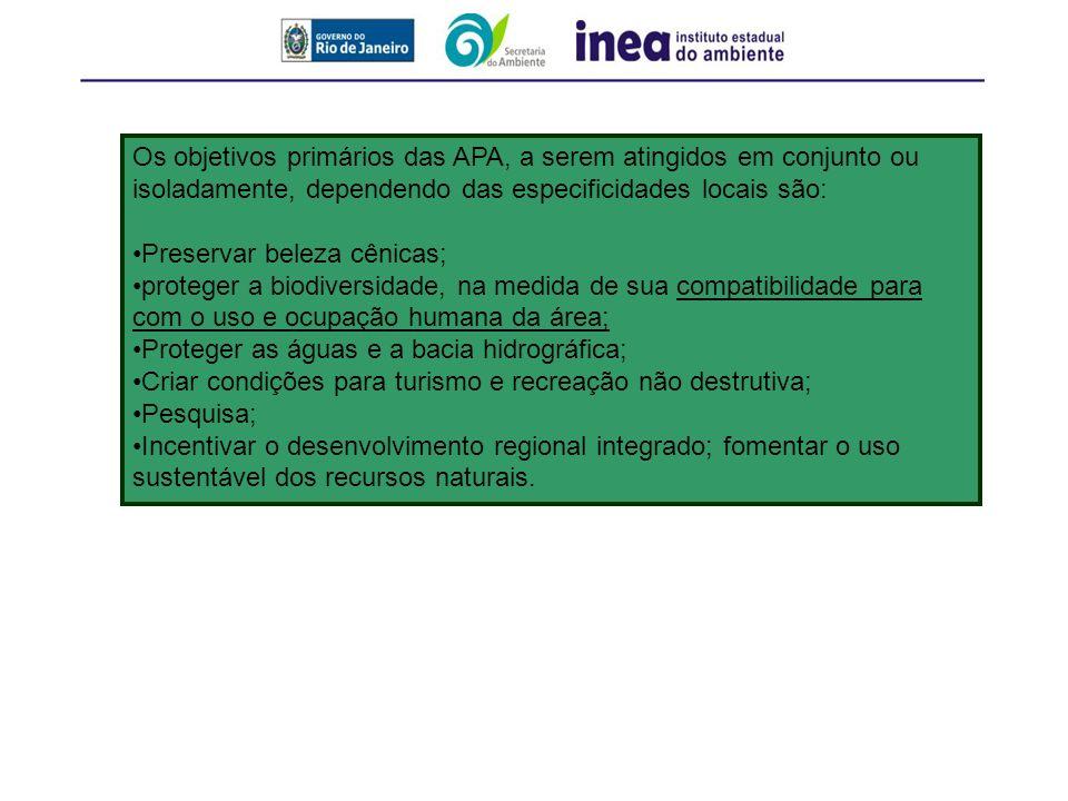 Os objetivos primários das APA, a serem atingidos em conjunto ou isoladamente, dependendo das especificidades locais são: