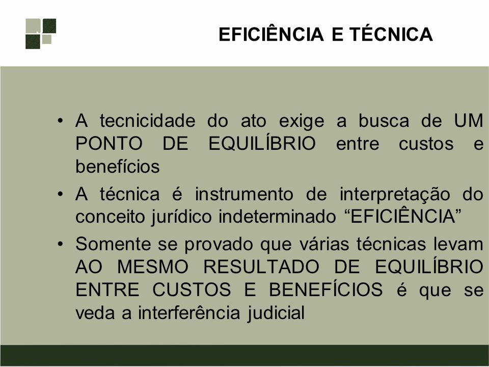 EFICIÊNCIA E TÉCNICA A tecnicidade do ato exige a busca de UM PONTO DE EQUILÍBRIO entre custos e benefícios.