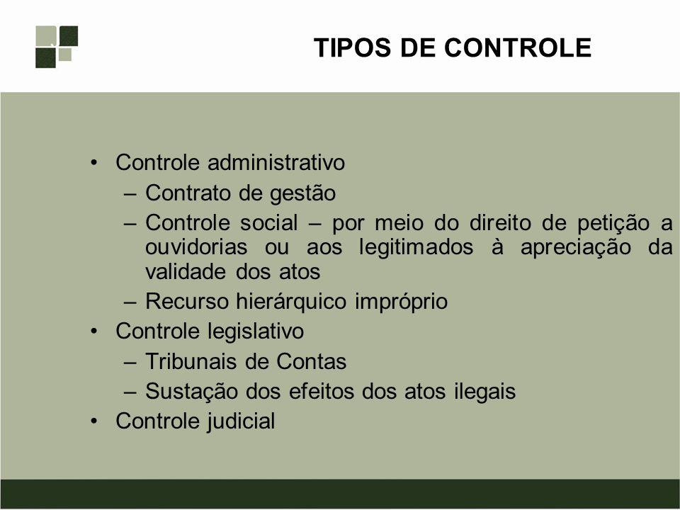 TIPOS DE CONTROLE Controle administrativo Contrato de gestão