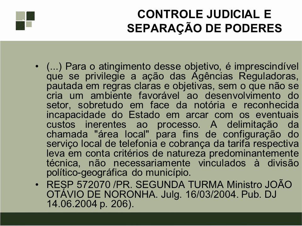 CONTROLE JUDICIAL E SEPARAÇÃO DE PODERES