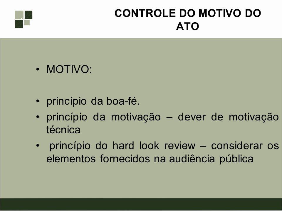 CONTROLE DO MOTIVO DO ATO