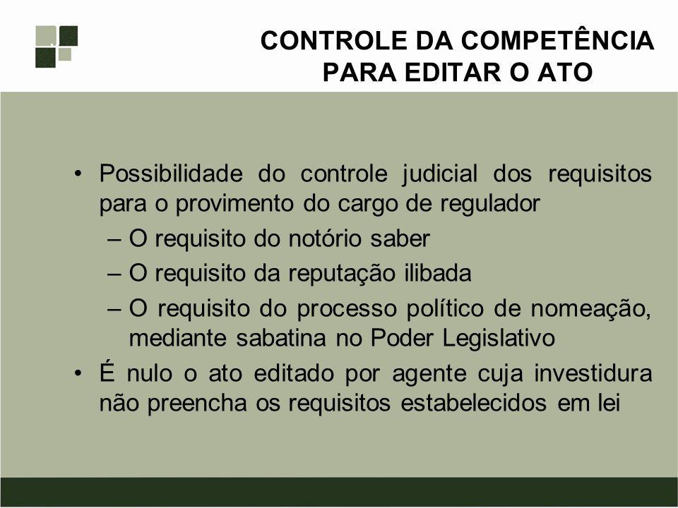 CONTROLE DA COMPETÊNCIA PARA EDITAR O ATO