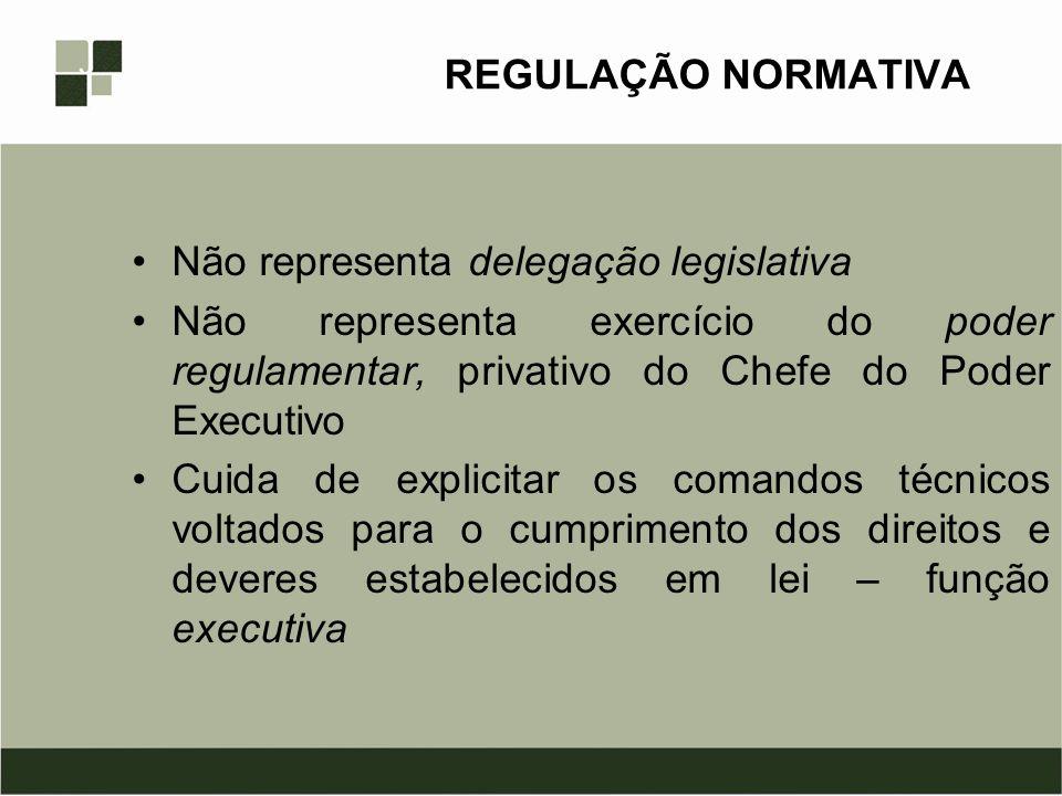 REGULAÇÃO NORMATIVA Não representa delegação legislativa. Não representa exercício do poder regulamentar, privativo do Chefe do Poder Executivo.