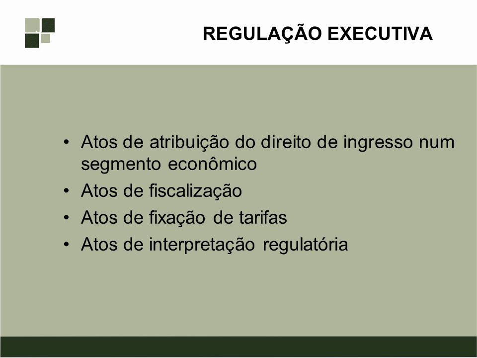 REGULAÇÃO EXECUTIVA Atos de atribuição do direito de ingresso num segmento econômico. Atos de fiscalização.