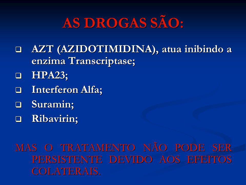 AS DROGAS SÃO: AZT (AZIDOTIMIDINA), atua inibindo a enzima Transcriptase; HPA23; Interferon Alfa;