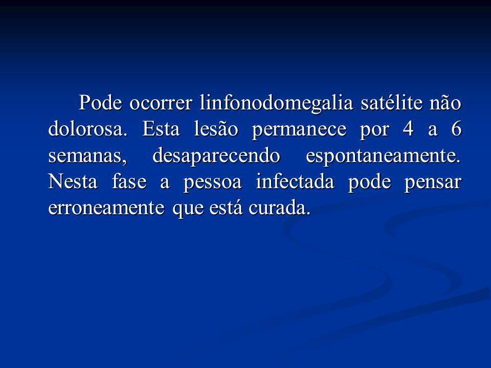 Pode ocorrer linfonodomegalia satélite não dolorosa