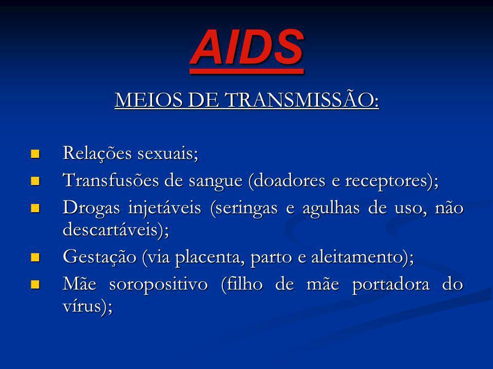 AIDS MEIOS DE TRANSMISSÃO: Relações sexuais;