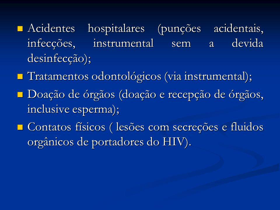 Acidentes hospitalares (punções acidentais, infecções, instrumental sem a devida desinfecção);