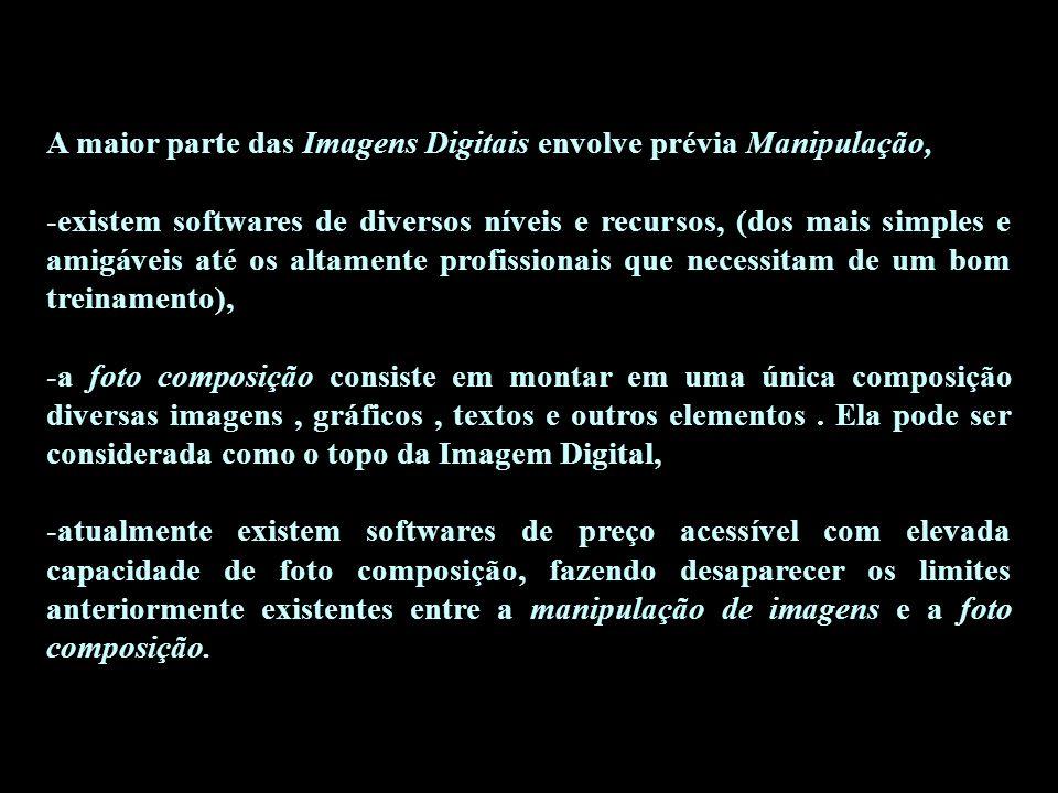 A maior parte das Imagens Digitais envolve prévia Manipulação,